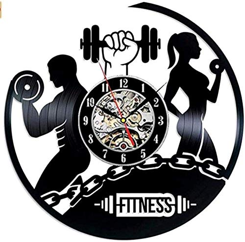 Reloj de pared para gimnasio o fitness, reloj de pared de vinilo, reloj de pared vintage, regalo de cumpleaños, hecho a mano, decoración de pared, luz de 30,5 cm