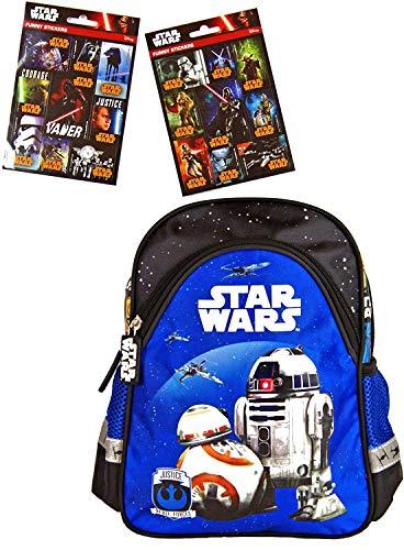 Star Wars Episode VII - schwarz/blau - Kindergarten-Rucksack/Kindergartentasche - für die Brotdose/Trinkflasche + 16 Star Wars Sticker - Vorschul-Rucksack