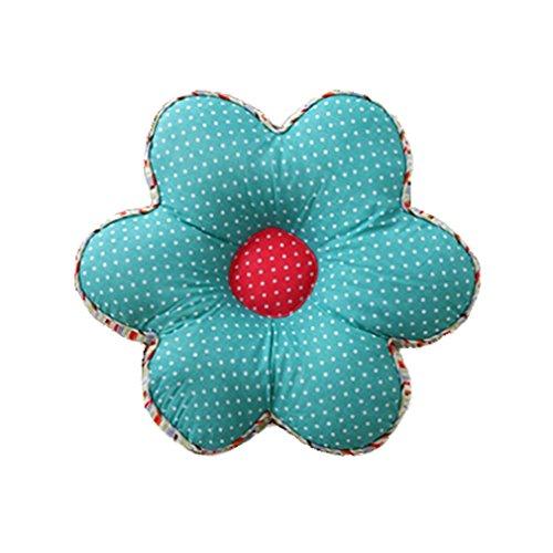 Nunubee Kissen Baumwollmaterial Blumenform Tatami-Stil zierkissen mit füllung apelt kissenhülle Vintage deko Dekoration deko Kissen deko Wohnzimmer Autodekoration Sofa Cover, Regensee blau 40x40cm