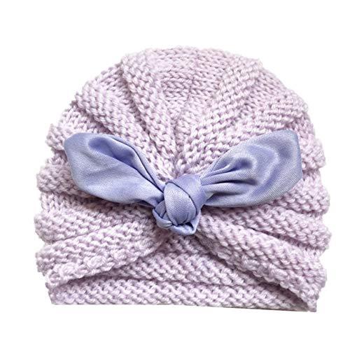 Sombrero de bebé de Invierno de Punto para niñas Color Caramelo Enfant Baby Beanie Turbante Sombreros Gorra de bebé recién Nacido para niños Accesorios-Lavender with Ears
