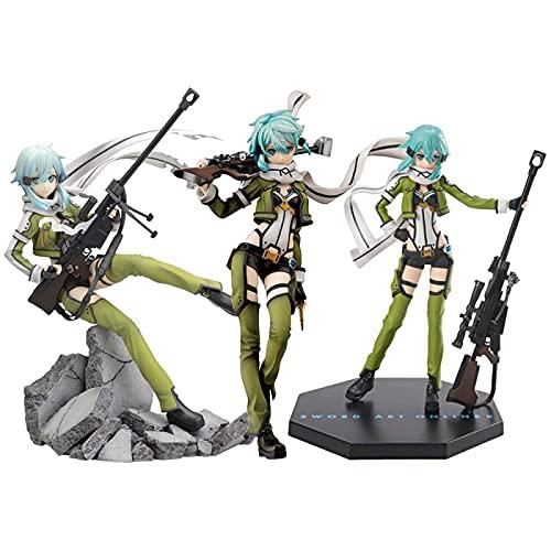 JINGMAI 3 Pezzi Anime Sao Ggo Phantom Bullet Sinon Action Figure,Sword Art Online Asuna Figurine PVC Girl Soldier Model Toy Gift 20-22Cm
