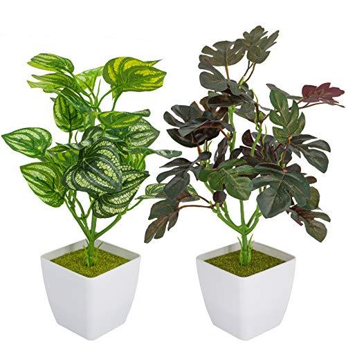 Huryfox 2 PCS Plantes Artificielles en Pot, Fausses Plantes...