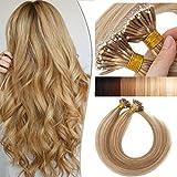 18'(45cm) SEGO Nano Micro Ring Extensiones de Pelo Natural [1g x 50mechas] #12/613 Castaño Dorado/Blanqueador Rubio Remy Cabello Humano Micro Loop Beads Hair (50g)