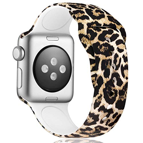 Haveda Cheetah Band Compatible with Apple 5 Watch 44mm Band Series 4 Series 5, Print Animal Watch Band 42mm Women Pattern Silicone Sport Wristbands for Apple Watch Series 3/2/1 M/L Leopard