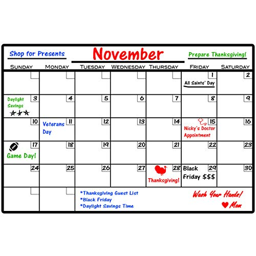 """VWAQ Dry Erase Calendar Wall Decal with Markers - Peel and Stick Whiteboard - DRV1 (8"""" H X 12"""" W)"""