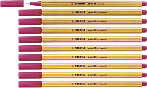 Fineliner mit löschbarer Tinte - STABILO point 88 erasable - 10er Pack - rot