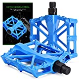 TOBWOLF 2PCS Bike Pedals, Non-Slip Aluminum Alloy Mountain Bicycle Pedal with 16 Anti-Skid Pins, Lightweight Universal 9/16' Spindle Cycling Bicycle Platform Pedal for MTB, BMX, Road Bike - Blue