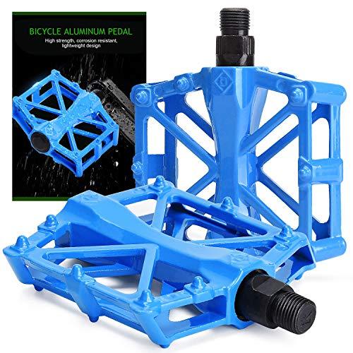 TOBWOLF 2 pedali antiscivolo per bici MTB BMX, pedale leggero per mountain bike con 16 perni antiscivolo, universale 9/16 'in lega di alluminio bicicletta accessori piattaforma - blu