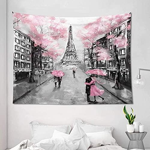 AMBZEK Eiffelturm-Wandteppich Paris Frankreich, 130 x 140 cm, Ölgemälde, europäische Stadt, rosa Baumliebhaber, Paar, romantische Vintage-Dekoration, Fantasie, Mode, Kunst, Wohnheim, Dekorstoff