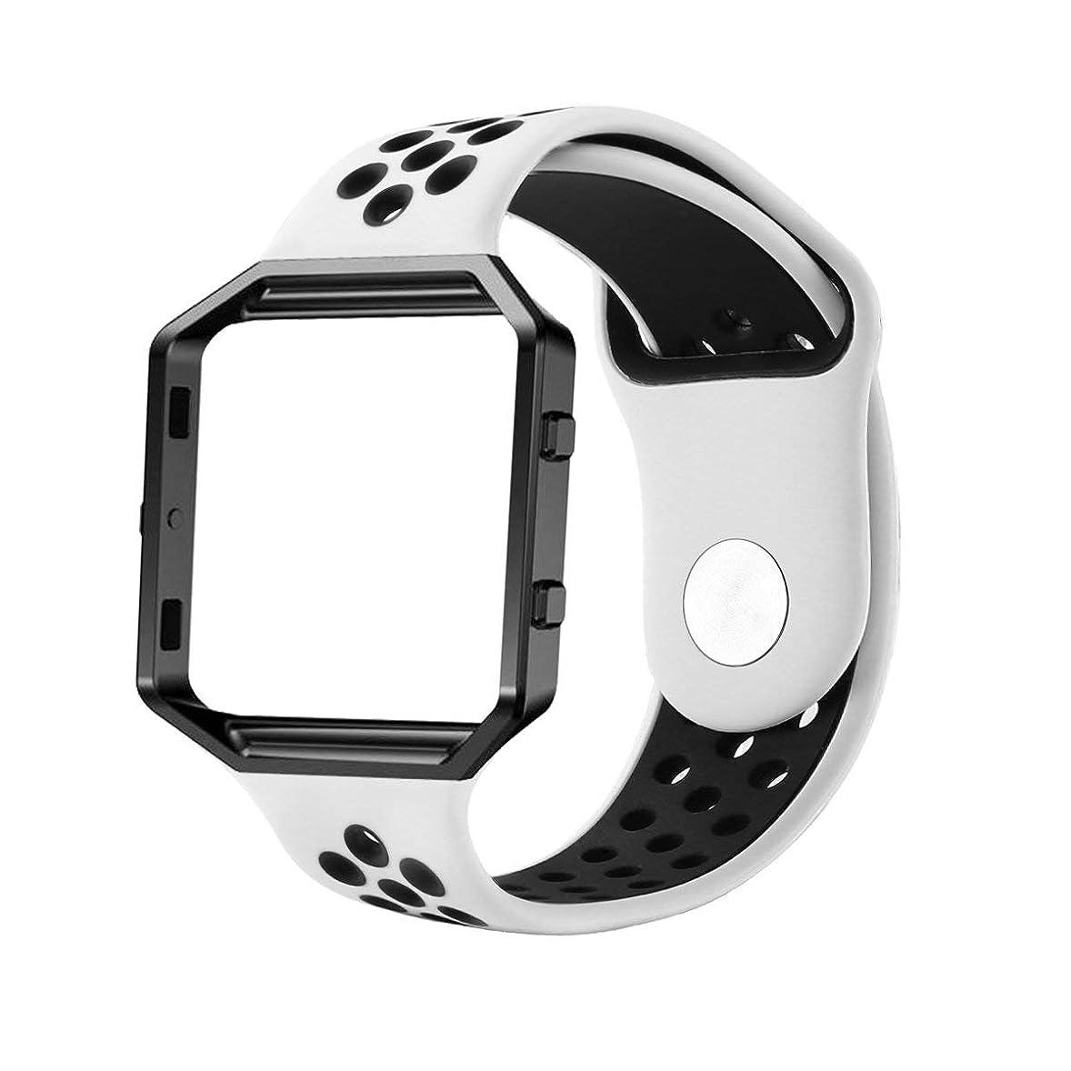 楽しいエミュレートする感嘆Haotop バンド Compatible fo Fitbit Blaze Watch,シリカゲルバンド スポーツシリコンストラップリスト 交換バンド 柔らか運動型 (Small, 白/黒)
