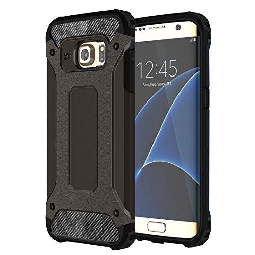 Galaxy S6Edge Case, Heavy Duty Hybrid Armor Hülle Dual Layer stoßfest TPU Gummi und Poly-Carbonat Schutzhülle für Samsung Galaxy S6Edge, plastik, schwarz, Samsung Galaxy S6 Edge