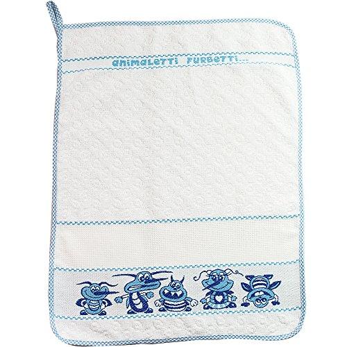 Toalla para niños con diseño de animales de granja, 40 x 55 cm, toalla para guardería y guardería, con tela Aida para bordar el nombre a punto de cruz, rizo de algodón, 100% Made in Italy azul claro