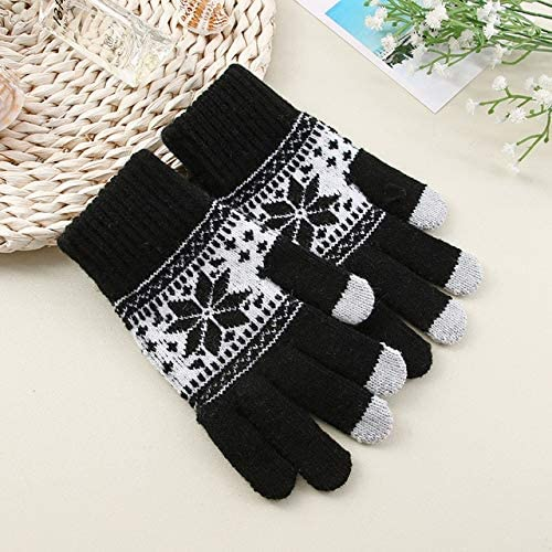 Gloves Men Five Fingers Warn Soft Knitting Winter Fashion Leisure Outdoor Bicycles Mens Daily Mittens Adults Chic - (Color: black2, Gloves Size: One Size)