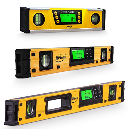 Digital Smart Level Tools Bundle - 24',18' X& 10 Inch Magnetic Torpedo Level and Protractor - Master Precision - IP54 Dustproof and Waterproof - Includes: 2 AAA Batteries and Carrying Case