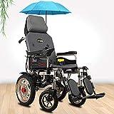 TYT Silla de ruedas eléctrica para personas mayores con discapacidad Scooter ligero plegable para personas mayores tipo todoterreno,Amortiguación completamente tumbada + respaldo automático de litio