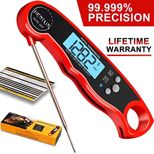 KOFOHO Meat Food Thermometer,Digital Instant Read Waterproof Kitchen Cooking Beef Candy Quick Read Thermometer with Foldable Probe for Oil Deep Fry BBQ Grill Smokers (Red)