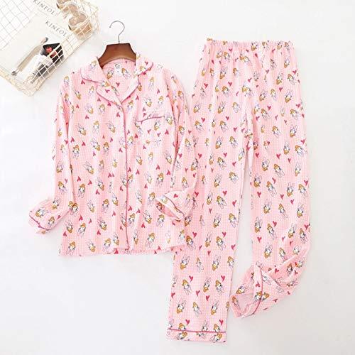 FLORVEY Cute Pink Duck Conjuntos de Pijama de algodn para Mujer Encantadora de Manga Larga de Invierno de algodn Cepillado Ropa de Dormir clida para el hogar