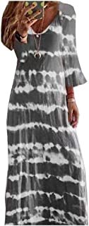 HEFASDM Women's Loose Floral Oversized Half Sleeve Pullover Loose Long Dress