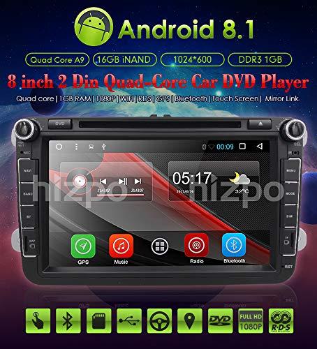 Ossuret Double DIN Car Stereo Reproductor de DVD con Pantalla táctil de 8 Pulgadas con Sistema operativo Android 8.1 Apto para VW/Skoda/Soporte de Asiento Control del Volante Radio Bluetooth