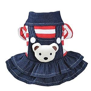 Patgoal Pet Chien Chat Rayé Combinaison Pull à capuche Ours Motif Jeans Vêtements Pet Veste Sweat à Capuche Automne Hiver Manteau Costume Tenues