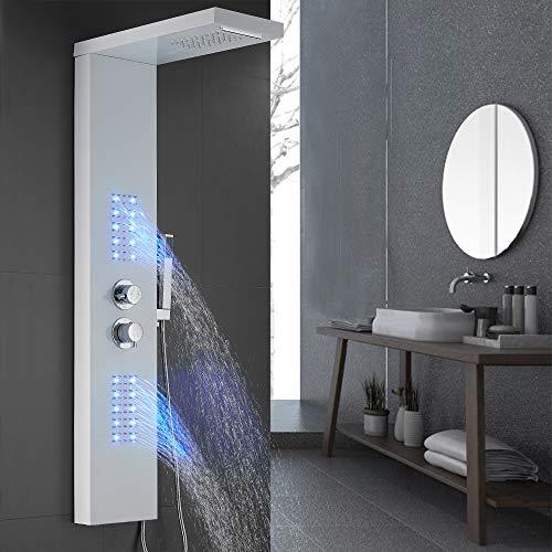 Duschpaneel Regendusche Duscharmatur Duschsäule Bad Duschset mit LED Thermostat 30℃ - 50℃ (Weiß)