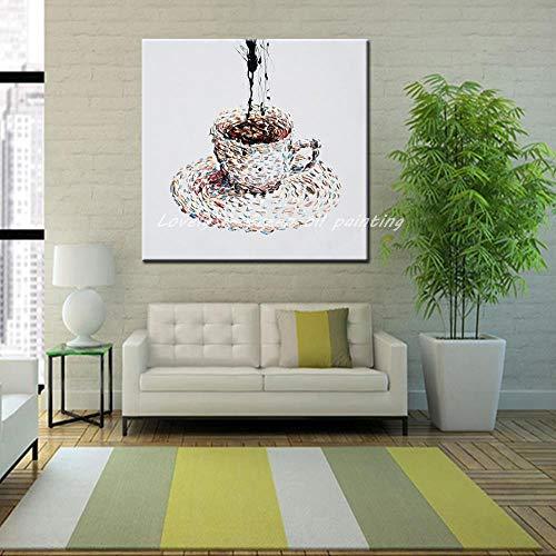 SHYHSCLBD olieverfschilderijen op canvas met de hand geschilderd, hand getekend olieverfschilderij moderne minimalistische woonkamer opknoping schilderij abstract moderne abstracte kop van koffie hand tekening cartoon geluk retro 100×100cm