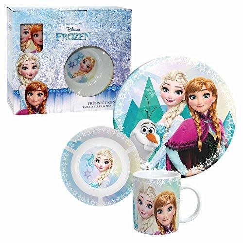 Die Eiskönigin Geschirr Set 3-TLG | Porzellan | Disney Frozen | Anna, ELSA & Olaf