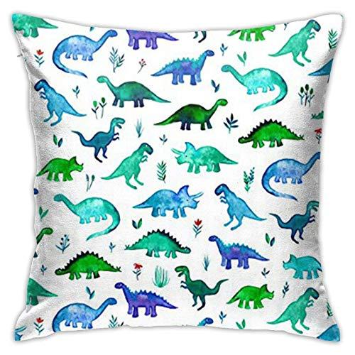 WH-CLA Couch Cushions Tela De Dinosaurios Tiny Dinos En Azul Y Verde Suave Funda De Cojín para Sofá Fundas para Sofá De Coche Cremallera De Apartamento Oficina Sofá Regalo 45 X 45 Cm CAM