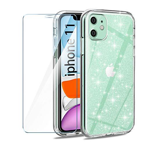 AROYI Cover Compatibile con iPhone 11 6.1 Pollici con Vetro Temperato, Trasparente Flessibile TPU Liquid Crystal Glitter Custodia Case Anti Graffio Compatibile con iPhone 11