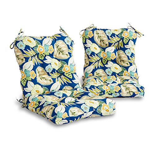 South Pine Porch Outdoor Marlow Blue Floral Seat/Back Chair Cushion, Set of 2