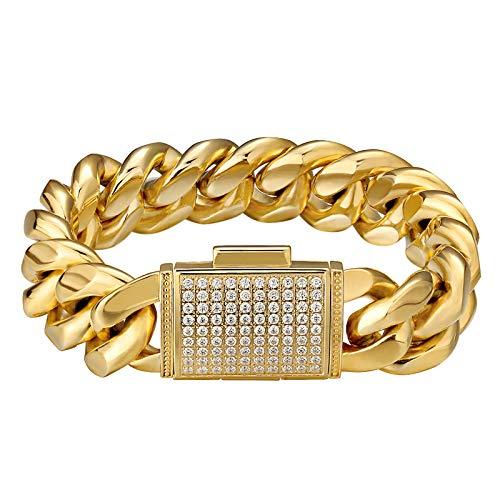 KRKC&CO Mens Cuban Link Bracelet, 18mm Miami Iced Out Cuban Curb Link, 18K Gold Durable Urban Street-wear Hip Hop Bracelet for Men (18k Gold, 7)