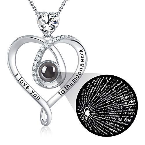 GinoMay Ich liebe dich Halskette 100 Sprachen Feiner Schmuck für Mutter Frau Geburtstagsgeschenk Muttertagsgeschenke Ich liebe dich zum Mond und zurück Halskette Liebesherz Sterling Silber Simulierter