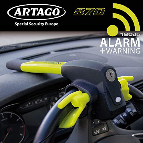Artago 870 Lenkradschloss mit Alarm Lenkradkralle Lenkradsperre Diebstahlsicherung Lenkrad Auto