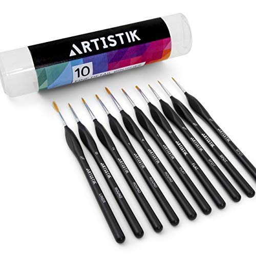 Professional Detail Paint Brushes - 10 Fine Detail Brush Set for Detailing Models, Miniatures, Face Painting, Acrylic, Oil, Watercolour