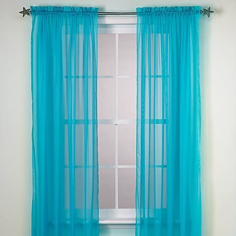 Gorgeous Home Miami Mall LINEN Turquoise 1PC Oklahoma City Mall Panel Ro Curtain Voile Sheer