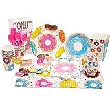 shengo Donut Party Supplies Set di 137 stoviglie usa e getta con ciambella, tazze, coltelli, tovaglioli, forchette, cucchiai, cannucce per bambini, feste di compleanno