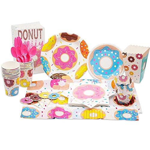 shengo Donut Party Supplies Set, 137 PCS Donut Einweggeschirr mit Donut Teller Tassen Messer Servietten Gabeln Löffel Strohhalme für Mädchen, Baby-Duschen Birthday Party Favors Dekorationen