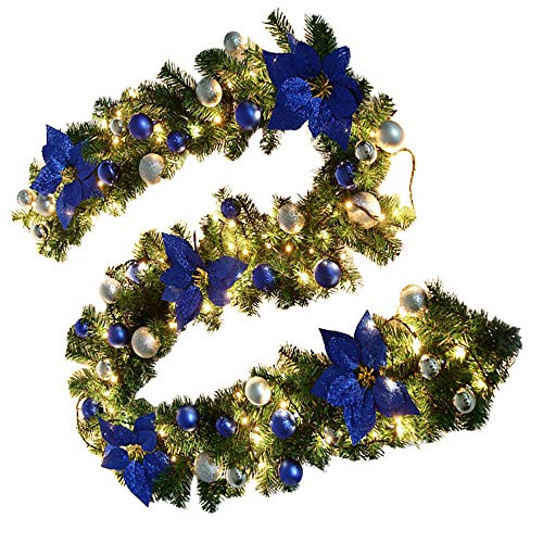 Librao 270cm Pre-Lit Christmas Garland Illuminated Warm White Light Artificial Wreath Decorated Blue Baubles Flowers Fireplace Xmas Tree Decoration (9ft)
