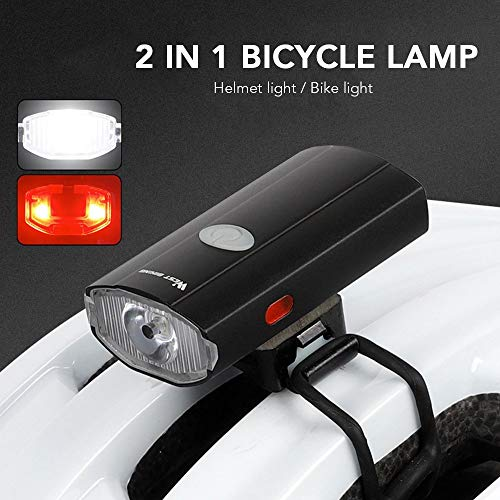 WASAGA 2 in 1 Bike Light USB Rechargeable Cycling Helmet Headlight Waterproof Bicycle Headlight Taillight Handlebar Front Light Rear Taillight Dual Purpose for Mountain Road Kids Bikes