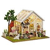 XZJJZ Romántica y Linda casa de muñecas en Miniatura de Bricolaje Casa Habitación y familias Tiempo Feliz Creativo Kit (Size : with Dust Cover)