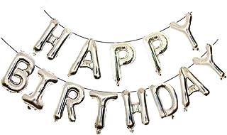 CellDesigns Happy Birthday Foil Balloon Banner Decoration (Silver)