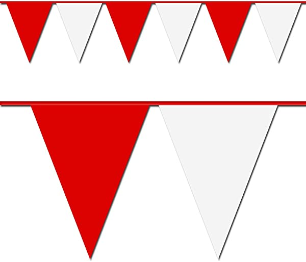 Red And White Triangle Pennant Flag 100 Ft