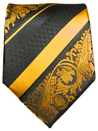 Cravate or noir rayée ensemble de cravate 3 Pièces (100% Soie Cravate + Mouchoir + Boutons de manchette)