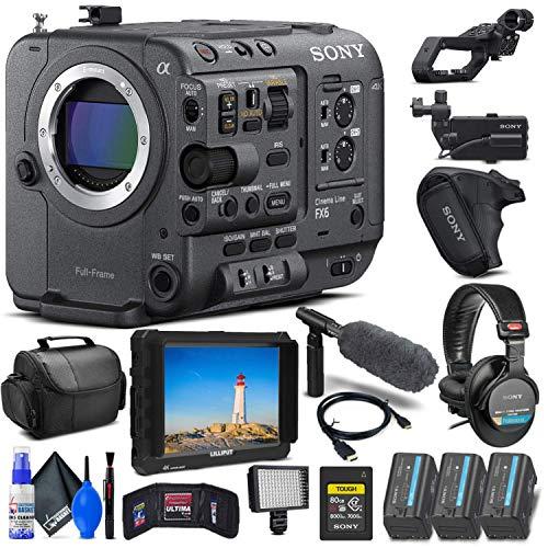 Sony FX6 Full-Frame Cinema Camera (Body Only) (ILME-FX6V) + 4K Monitor + Sony 80GB Cf express card + Headphones + Mic + 2 x BP-U35 Battery + LED Light + Pro Case + Deluxe Cleaning Set + More (Renewed)