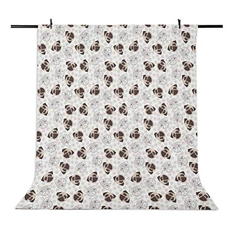 8x12 FT Dog Vinyl Photography Background Backdrops,Pug Portraits Traces Paw Print Background Canine Pet Illustration Mammal Animal Background for Selfie Birthday Party Pictures Photo Booth Shoot