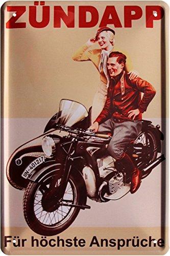 Tin Sign Blechschild 20x30 cm Zündapp Motorrad mit Beiwagen Motor Bike Historisch Oldtimer Werbung Plakat Reklame Werkstatt Metall Schild