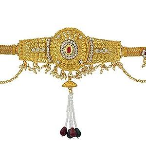 Memoir Brass Gold Plated, Big Oval Design, CZ Kundan Faux Ruby, Patta Design, Waistbelt, Bellychain, Kamar bandh Women Traditional, Bridal Jewellery