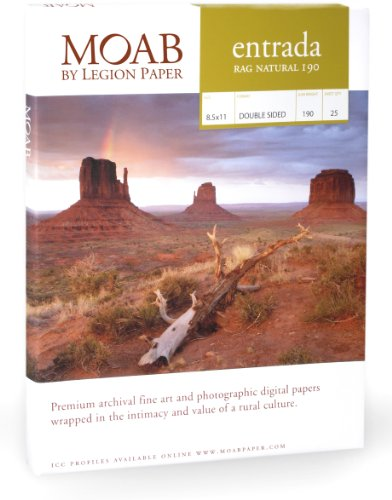 Moab Entrada Rag Natural (Papier für Tintenstrahldrucker, A4,190 g, Hochglanz, 25 Blatt)