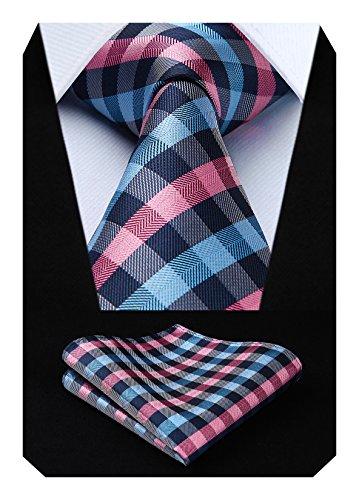 HISDERN Panuelo de corbata y panuelo de corbata a cuadros Wedding Tie para hombre Rosado azul