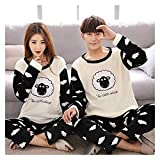 SXhyf Autumn and Winter Thick Pajamas Flannel Couple Pajamas Women Korean Version of Long Sleeves Cute Thick Men's Home Clothes Home Pajamas Warm Suit Women Pajamas Couples Great Gifts